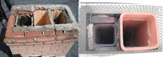 Multiple flues inside one chimney